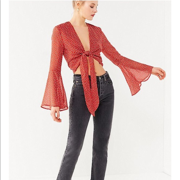 e9b3f714cea Urban Outfitters Tops - Urban outfitters - Tie-Front Bell-Sleeve Crop Top